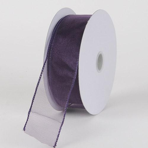 Plum - Organza Ribbon Thick Wire Edge 25 Yards - ( W: 1-1/2 inch | L: 25 Yards )
