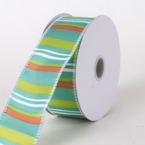 Teal - Multi Striped Satin Ribbon - ( W: 1-1/2 inch | L: 10 Yards )