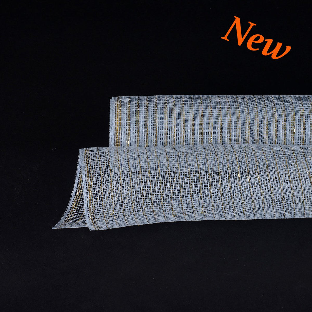 Silver with Gold Lines  - Deco Mesh Wrap Metallic Stripes -  ( 21 Inch x 10 Yards )