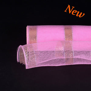 Pink with Gold Lines Christmas Mesh - 21 Inch x 10 Yards