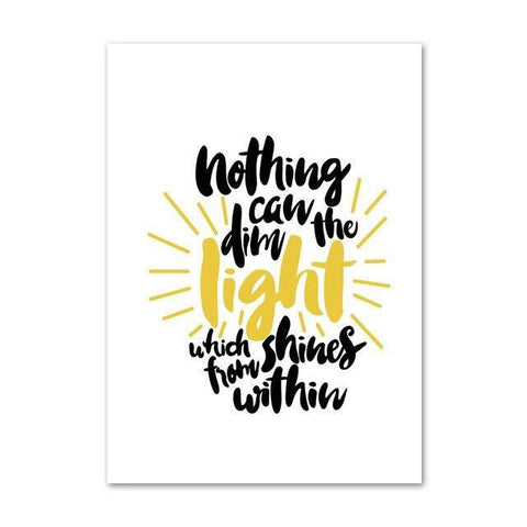 "Sifla 20X25 cm / Citation inspirante Citation inspirante ""Nothing can dim the light which shines from within"" - Toile imprimée"
