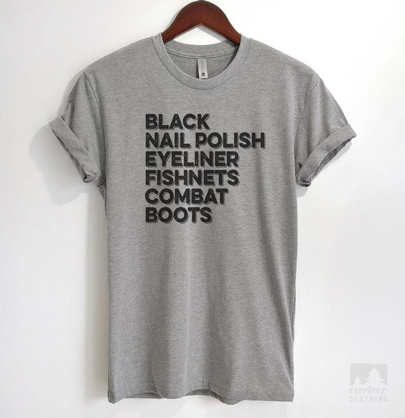 Black Nail Polish Eyeliner Fishnets Combat Boots Heather Gray Unisex T-shirt