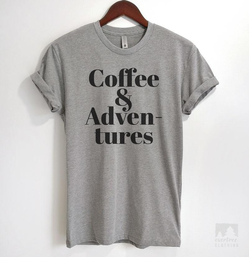 Coffee & Adventures Heather Gray Unisex T-shirt