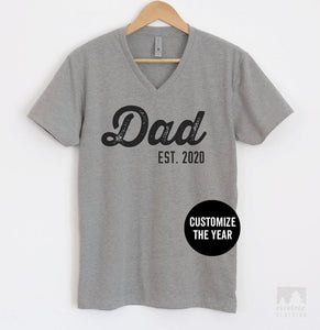 Dad Est. 2020 (Customize Any Year) Heather Gray V-Neck T-shirt