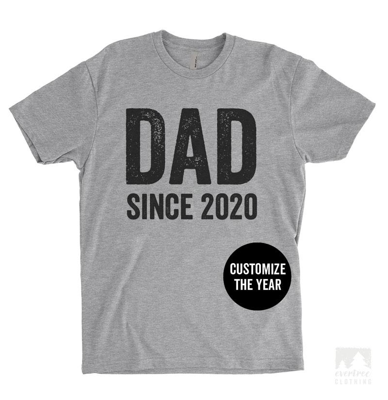Dad Since 2020 (Customize Any Year) Heather Gray Unisex T-shirt