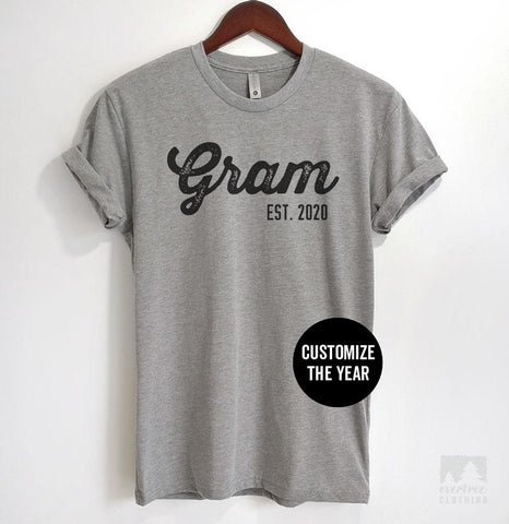 Gram Est. 2020 (Customize Any Year) Heather Gray Unisex T-shirt