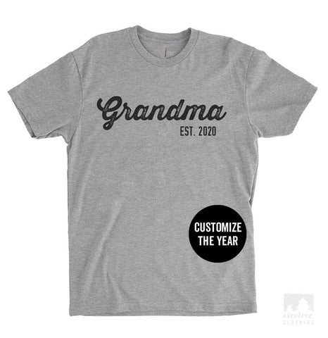 Grandma Est. 2020 (Customize Any Year) Heather Gray Unisex T-shirt