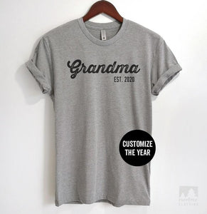 Grandma Est. 2019 (Customize Any Year) Heather Gray Unisex T-shirt