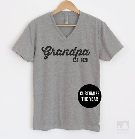 Grandpa Est. 2020 (Customize Any Year) Heather Gray V-Neck T-shirt