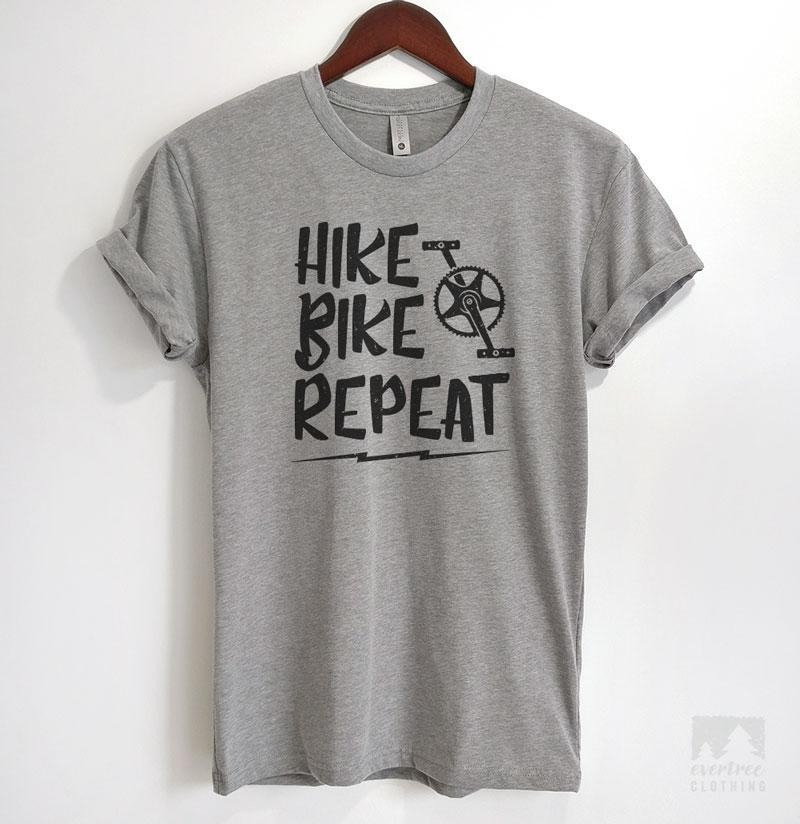 Hike Bike Repeat Heather Gray Unisex T-shirt