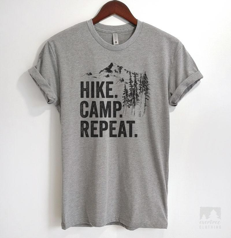 Hike Camp Repeat Heather Gray Unisex T-shirt