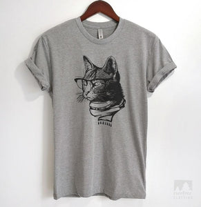 Hipster Cat Heather Gray Unisex T-shirt
