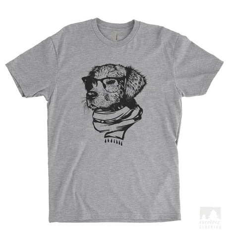 Hipster Dog Heather Gray Unisex T-shirt