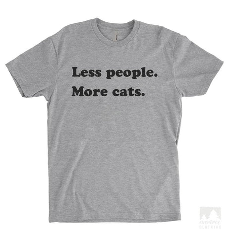 Less People More Cats Heather Gray Unisex T-shirt