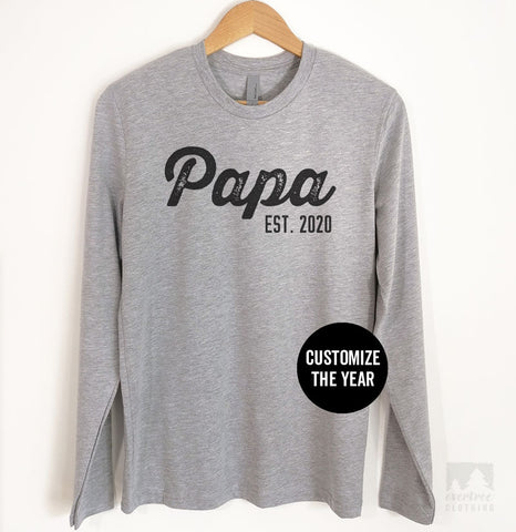 Papa Est. 2019 (Customize Any Year) Long Sleeve T-shirt