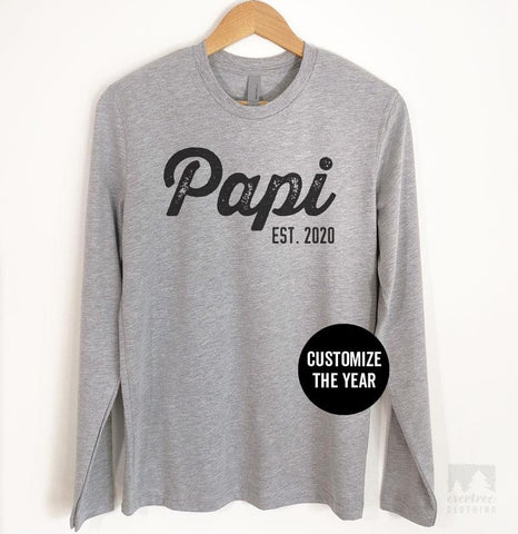 Papi Est. 2020 (Customize Any Year) Long Sleeve T-shirt
