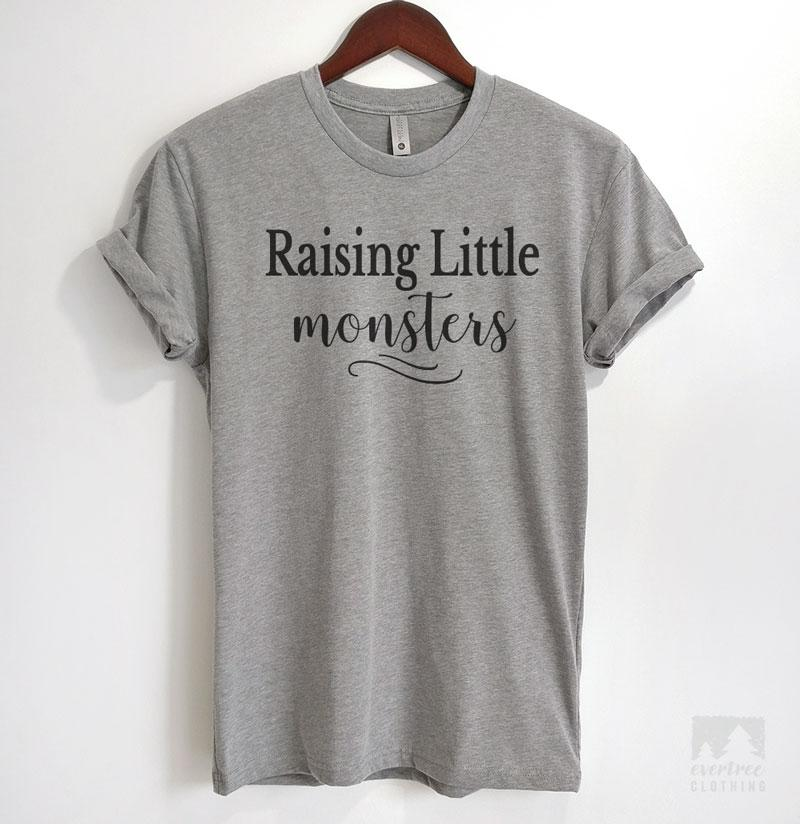 Raising Little Monsters Heather Gray Unisex T-shirt