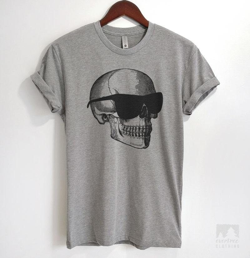Skull With Sunglasses Heather Gray Unisex T-shirt