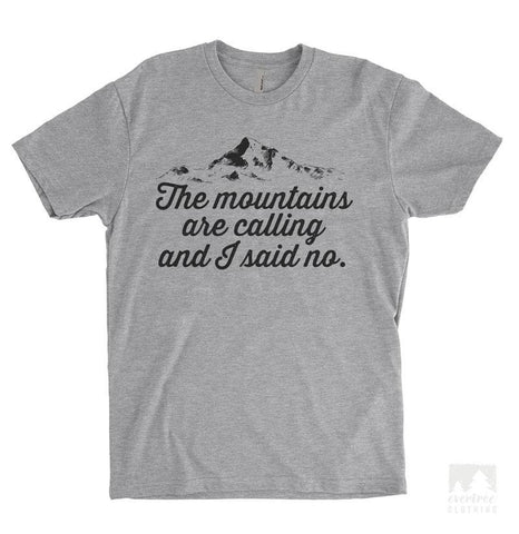 The Mountains Are Calling And I Said No Heather Gray Unisex T-shirt