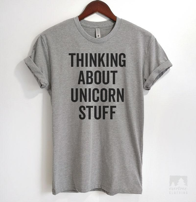 Thinking About Unicorn Stuff Heather Gray Unisex T-shirt