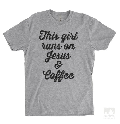 This Girl Runs On Jesus & Coffee Heather Gray Unisex T-shirt