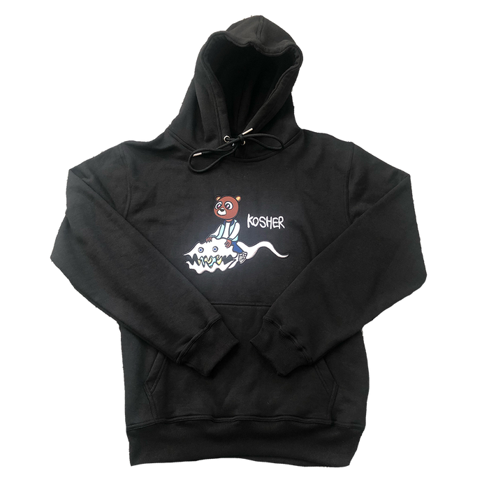 EMBROIDERED KIDS SEE GHOSTS X DROPOUT BEAR HOODIE (BLACK)