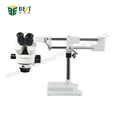 Double Boom Adjustable Stand Zoom Simul Focal Trinocular Stereo Microscope For Industrial PCB Inspection Repair 3.5X 7X 45X 90X
