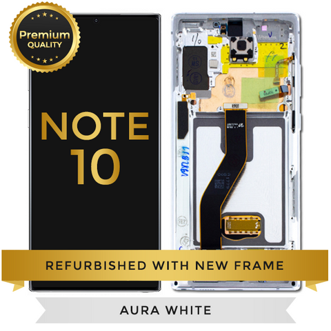 Refurbished Samsung Galaxy Note 10 LCD Digitizer display Assembly with front housing, White