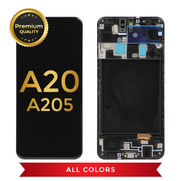 Samsung Galaxy A20 Replacement LCD Screen & Digitizer Assembly With Frame (Black)