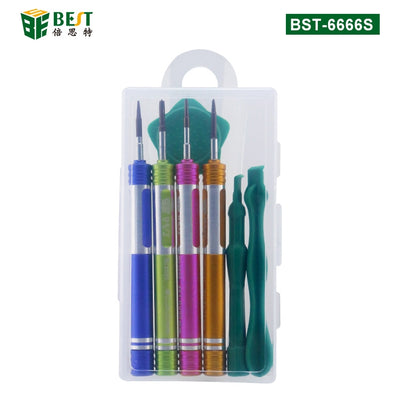 BEST 6666S 7 in 1 Mobile Phone Repair Tools Teardown Opening Tools Kit Metal Screwdriver Set for iPhone Repair