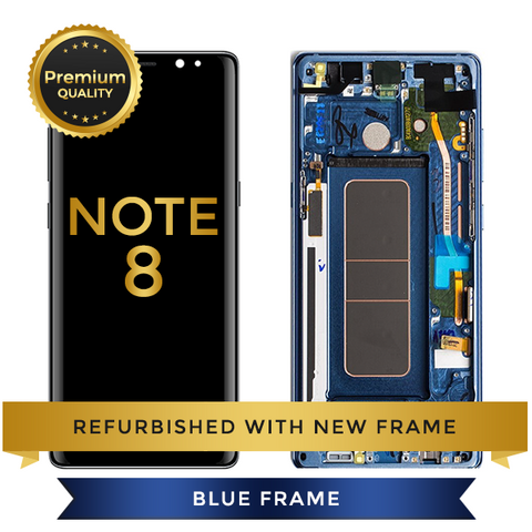 Replacement LCD Digitizer Assembly With Frame, Blue For Samsung Galaxy Note 8