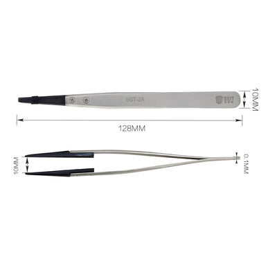 BST-2A Anti-static tweezers with replaceable flat tip