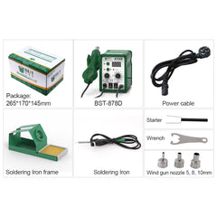 Best 878D 2 in 1 digital display lead-free 110V/220V hot air soldering station