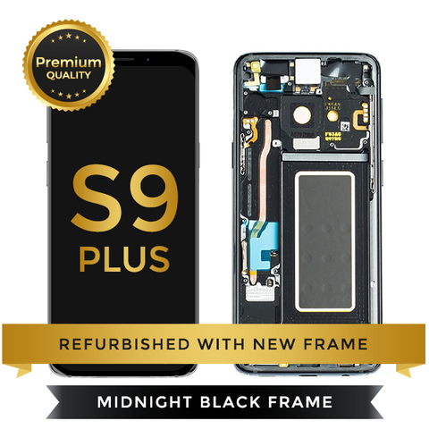 Refurbished Samsung Galaxy S9 Plus LCD Digitizer display assembly with front housing, Black