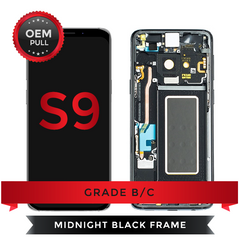 Samsung Galaxy S9 LCD Digitizer display assembly with Frame USED OEM Pulls Grade B/C (Black)