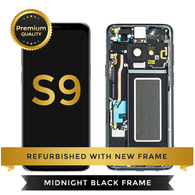 Refurbished Samsung Galaxy S9 LCD Digitizer display assembly with front housing, Black