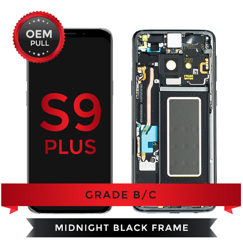 OEM Pulls Grade B/C Samsung Galaxy S9+ LCD Digitizer display assembly with front housing, Black