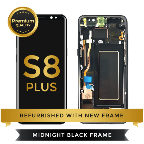 Refurbished Samsung Galaxy S8 Plus LCD Digitizer display assembly with front housing, Black