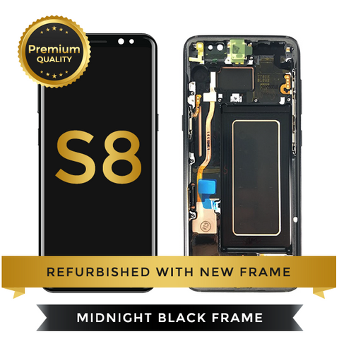 Samsung Galaxy S8 LCD Digitizer Assembly with Frame, Black