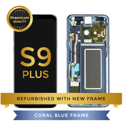 Refurbished Samsung Galaxy S9 Plus LCD Digitizer display assembly with front housing, Blue