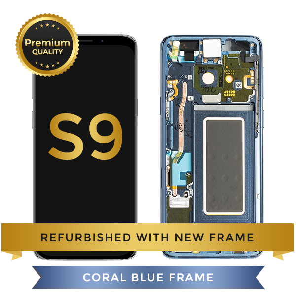 Refurbished Samsung Galaxy S9 LCD Digitizer display assembly with front housing, Blue
