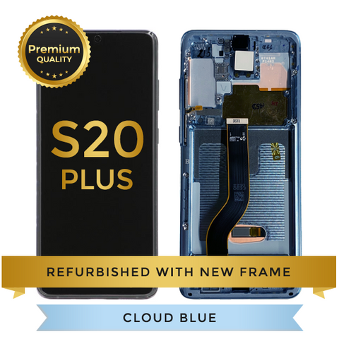 Refurbished Samsung Galaxy S20 Plus LCD Digitizer display assembly with front housing, Cloud Blue