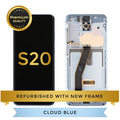 Refurbished Samsung Galaxy S20 LCD Digitizer display assembly with front housing, Cloud Blue