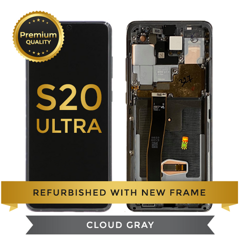 Refurbished Samsung Galaxy S20 Ultra LCD Digitizer display assembly with front housing, Cloud Gray