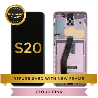 Refurbished Samsung Galaxy S20 LCD Digitizer display assembly with front housing, Cloud Pink