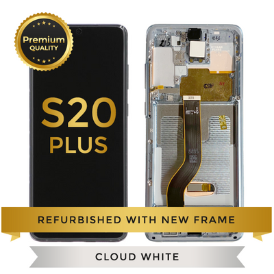Refurbished Samsung Galaxy S20 Plus LCD Digitizer display assembly with front housing, Cloud White