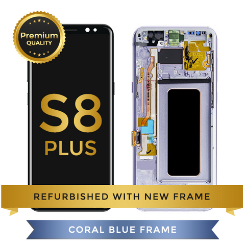 Refurbished Samsung Galaxy S8 Plus LCD Digitizer display assembly with front housing, Coral Blue