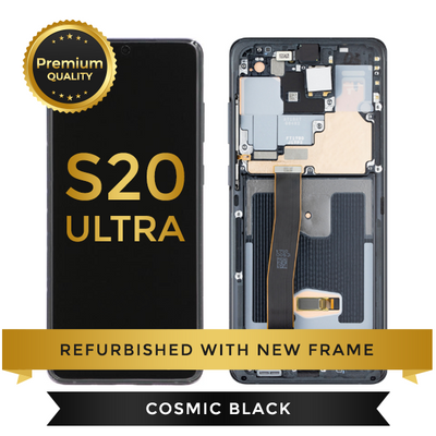 Refurbished Samsung Galaxy S20 Ultra LCD Digitizer display assembly with front housing, Cosmic Black