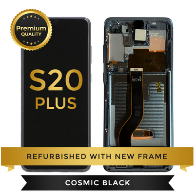 Refurbished Samsung Galaxy S20 Plus LCD Digitizer display assembly with front housing, Cosmic Black