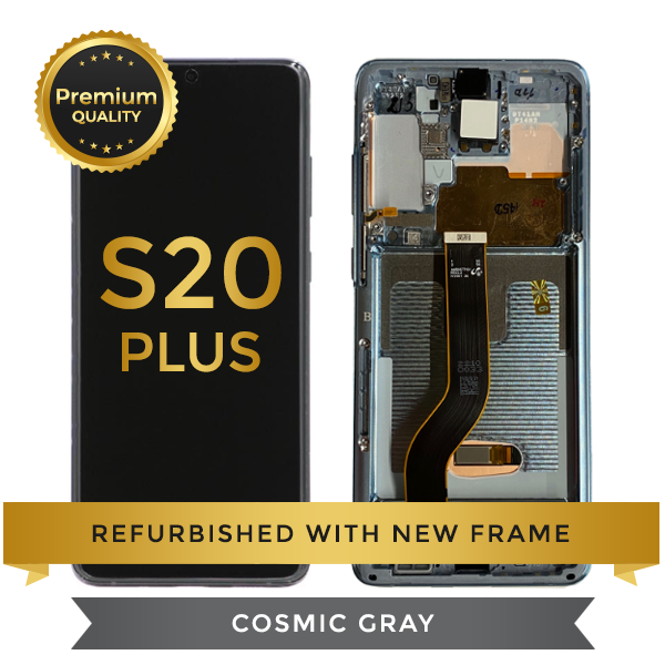 Refurbished Samsung Galaxy S20 Plus LCD Digitizer display assembly with front housing, Cosmic Gray